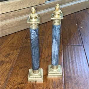 Granite & Brass Altar Candlesticks with Snuffers